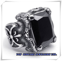 Men's Punk  Vintage Silver Dragon Claw Black Gem Cubic Zirconia Biker 316L Stainless Steel Ring ,Free shipping,R#47