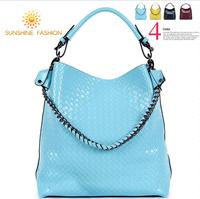 New 2014 Chain Knitted woven shopping Bag women Handbag Genuine Leather messenger bags Cowhide Women's bucket bag famous brand