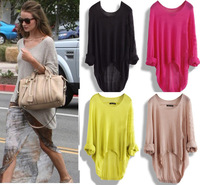 2014 New Casual Batwing Womens Ladies Loose Asymmetric Knit Coat Top Sweater T-shirt Waistcoat Pullover W4182