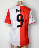 Feyenoord Rotterdam Team Uniforms 13 14 PELLE # 9 Original Offset Printing & Embroidery Team Logo  Home Male Shirt Thai Quality