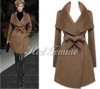 Big Sale Large lapel fashion outerwear coats,long winter woolen coat jacket,women's overcoat wool coat,large size women's coat