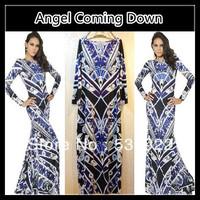 2013 Fall New Italian Designer Brand EMILI ** UCCI Sleeved Knit Slim Jersey Dress J151