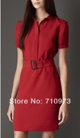 free shipping new arrival high quality short sleeve girl casual red slim dress 2014 spring & summer with turn down collar