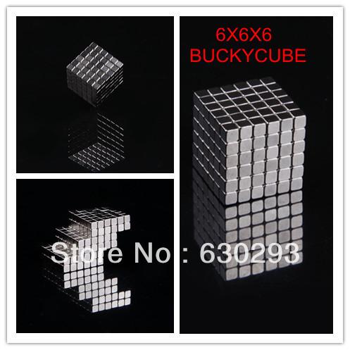 3MM 216 PCS 6x6x6 Silver Buckycubes Neocube Buckyballs Neodymium Bucky cubes Magnetic Square cube Puzzle Toy cube()