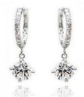 Fashion Austria Crystal   platinum plated 18K Austrian rhinestone Circle Earrings