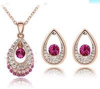 full rhinestone drop 2014 Austrian Crystal Necklace/ Earrings Wedding Jewelry Sets C-S78B12