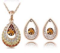 Fashion Austria crystal full rhinestone drop necklace  Earrings Set jewelry sets wholesale B20