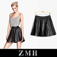 Punk rivets Skirt For Women fashion Sexy Black skirt all-match pleated PU leather bust skirt Free shipping