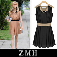 2013 American Fashion Sleeveless women's dress summer ladies' dress chiffon Brand design Dress Free Shipping