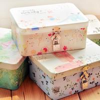 Free shipping small fresh lockable storage box Desktop Storage tin jewelry box      M119