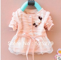 2014 baby Girl's dress,baby clothing autumn dress jacket,can be cardigan,Bowknot style long sleeve bouffancy dress