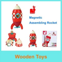 Free Shipping France Janod Red Small Rocket  Wooden Magnetic Combined Toys/Children Early Learning Toys/ Wooden Education Toys