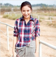 2013 autumn  Women Button Down Casual Lapel Shirt Plaids Checks long sleeve Shirt Top Blouse free shipping