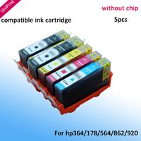 5PCS compatible ink cartridge for HP 564XL HP 364 XL C5324 HP364 B8550 B8553 C6300 C6380 C5300 D5460 D5463 D7560 B109a no chip