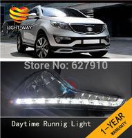 Free shipping 2pcs/set Waterproof  daytime running lights / LED Car DRL case for 2012-2013 new KIA Sportage R DRL,fog light