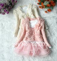 2013 New Autumn Girls dresses 2pcs girls' clothing set lace pearl coat +tutu children dress suits , high quality
