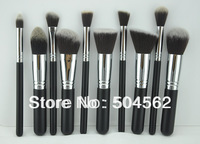 10 pcs Silver Pro Foundation blush blending eye shadow Makeup Brush Set Cosmetics Tool