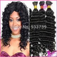 Brazilian virgin human hair bulk,unprocessed Brazilian wavy virgin hair bulk for braiding, can dye any color virgin bulk hair