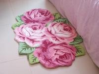 Free shipping hand woven 4 roses  art rug/carpet, art mat  for bedroom, bedside. 110*70*1.5cm