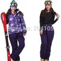 2014 winter thermal ski suit set outdoor waterproof windproof jacket thermal cotton-padded jacket women