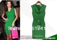 beige,green color  summer lady Euopean sleeveless down collar dress with belt, women chiffon dress M,L,XL size A-127