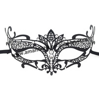 Hot sale! 50 pcs/lot Wholesale Luxury Black Metal Laser Cut With Rhinestone Princess Masquerade Mask pattern B