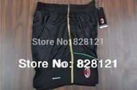 NEW^!^ 13/14,14/15  Thailand Quality  AC Milan Black  White GreenSoccer Football Shorts  Men Sports Shorts Free Shipping