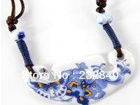 Jingdezhen Ceramic Jewelry handmade Blue and white porcelain Flower Lovely Ceramic Pendant jewelry Necklace.From China.