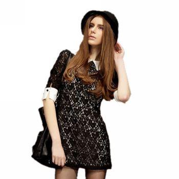 New Fashion Women's Half Sleeve Vintage retro Black Lace Mini Dress Slim Ladies Party Short Casual Dresses Vestidos Dr014