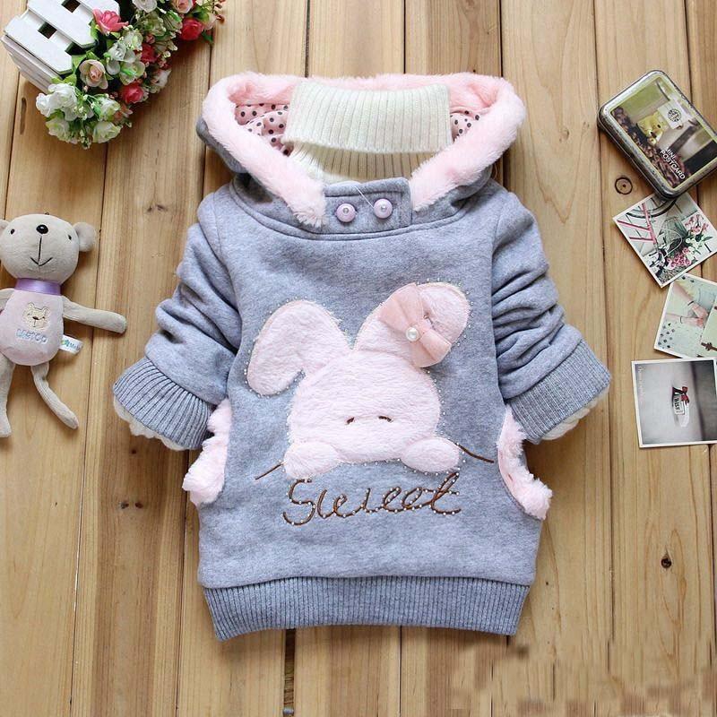 2014 Retail Children Clothing Cartoon Rabbit Fleece Outerwear girl fashion clothes/hooded jacket/Winter Coat roupa infantil(China (Mainland))