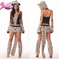 sexy uniform Halloween luxurious fur leopard tiger cat ladies dress cat girl fancy dress sexy uniform cosplay costume MM002