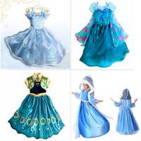 Retail!  Dress Elsa & Anna Summer Dress for girl 2015 new hot princess dresses brand girls dress children clothing 2-10T