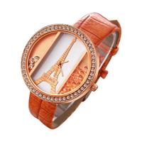Eiffel tower ladies quartz Watch alloy rose gold dial PU strap Women's dress watch rhinestone watches quicksand wristwatches