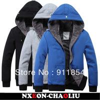 Free shipping new spring coat men's jackets men's casual Korean version plus size velvet hooded cardigan sweater coat