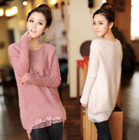 2013 autumn (fall) Winter genuine mohair sweater thick lovely lace hem Jackets women coat lady skirt girl dress clothes