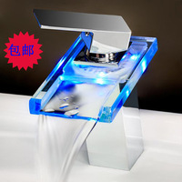 supernova sale 3-color LED faucet basin faucet thermostat luminous glow faucet Waterfall faucet New Technology