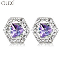 ERA052 Hexagon Stud Earrings Top Austrian Crystal Thick White Gold Plated Free Shipping