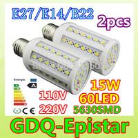 Free shipping 2pcs E27-15W-60leds-5630 SMD High Power LED Corn Light Bulb Lamp Lighting AC100-130V/200-240V Warm/Cool White