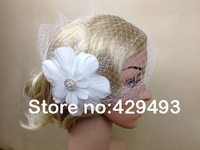 Free shipping bridal fascinator expensive French / Russsian netting with feathers on clips with brooch for church/party/races .