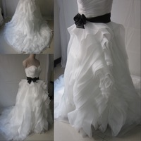 DMW029 Deamaker sweetheart black belt ruffle vintage skirt real made sample ball gown wedding dresses