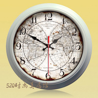 Free shiping European style 38cm kitchen wall clock hourswith glass cover metal back and metal frame world map print bath decor