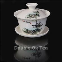 14pcs Bamboo Painting Chinese Tea Ceremony Gongfu Set 1 Ceramic Gaiwan 8 Bone China Cups Porcelain