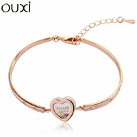 BLA050 Fashion Heart In the Circle Bangle Made With Top Austrian Crystal Thick 18K Gold Plated Free Shipping