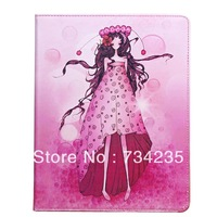 Pink Cute Girl Cartoon Flio Wallet PU Leather Case for iPad 2/3/4 Free Shipping