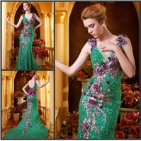 Custom-Made New Free shipping Sheath/Column Fashion  V Neck Monarch/Royal Sequin Bows Prom Gown Evening Dress A002