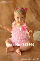 2013 Retail Cute Baby Rompers Girl/ Boys Petti Lace Romper With Straps and Ribbon Bow Kids Jumpsuit 3Size  Free Shiping