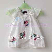 Retail (3-7Y) children clothes kids girls blouses Embroidered blouses with lace & frilly shirt kids girls blouses cotton shirts