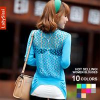 New 2014 Spring Sweater Lace Crochet Knitted Women blouses & shirts chiffon blouse ladies Cardigan long sleeve female Cardiga