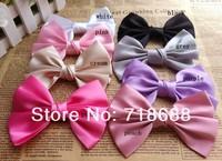 9color Kid's Headwear 4.5inch Solid big Bowknot Handmade Hair Ribbon Hair Accessories 50pcs/lot