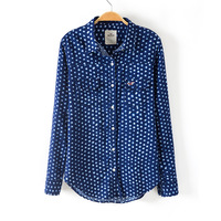 Women Los Trancos Dots Prints Shirts Lady Fashion Blouse SW1088-G02